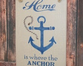 Home is Where the Anchor Drops - Subway Sign - Nautical Decor - Beach House Sign - Lake House Sign