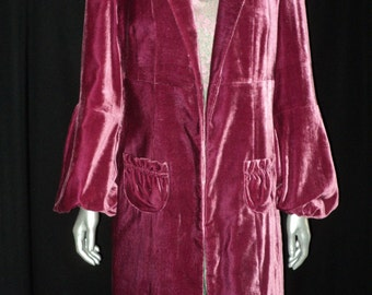 Early late 1920's to early 1930's Silk Velvet Coat Art Deco Raspberry Lined Gathered Cuffs Cocoon Style Coat Ruched Collar & Pockets