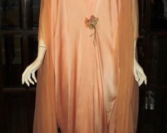 FINAL SALE Antique 1920's Peignoir Silk Chiffon Butterfly Sleeves Peach Silk with antique Ribbonwork Antique Lingerie Boudoir Robe