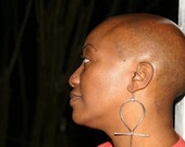 Sterling Silver Large Ankh Statement Earrings  Also Available in Brass and Copper
