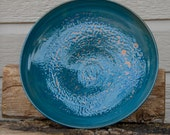 Blue Fruit Bowl, Centerpiece, Large Fruit Bowl, Short Centerpiece, Wheel Thrown, Decoration Only