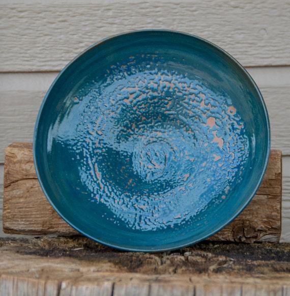 Blue fruit bowl centerpiece large short