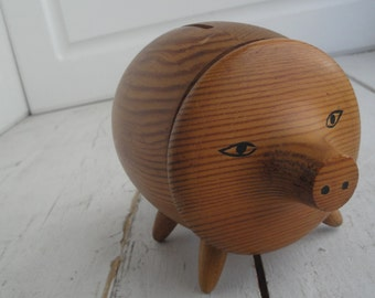 Vintage Piggy Bank Wood Swedish Monsterskyddad