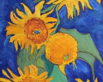 FIVE SUNFLOWERS - 24 x 36 - Original Oil Painting - After Van Gogh - Impasto - Blue - Thick Paint - Yellow - Orange - Blue - Wall Art