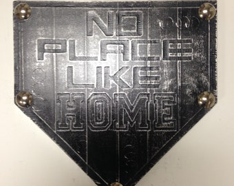 Buy one similar No Place Like Home Plate Baseball Custom Original Foil Metal Tape Art Faux Steel Ready To Hang Mancave
