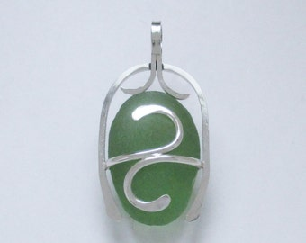 Sea Glass Jewelry - Sterling Caged Large Green Sea Glass Pendant