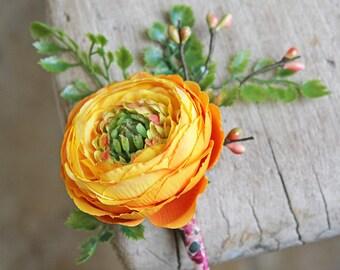 Boho Boutonniere or Pin on Corsage | Yellow-Orange Ranunculus | Silk Flower Wedding
