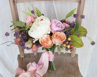 Purple Peach and Pink Colorful Wild Flower Boho Silk Flower Wedding Bouquet