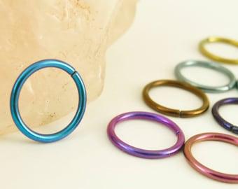 1 Hoop - Colorful Niobium Hypoallergenic Earring Hoops - 18 gauge 8mm ID - You Pick the Color