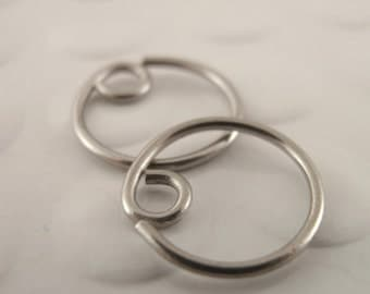 1 Pair - Titanium Hypoallergenic Earring Hoops - 20 gauge - 10mm-20mm  - You Pick Size - Switch Earring System