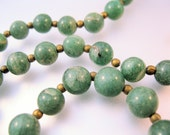 "Vintage Nephrite Green Jade Beaded Necklace 21.5"" 1960s JewelryJewellery"