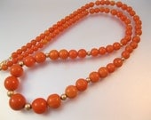 "Vintage 14k Coral Necklace 28"" Graduated Beaded High Quality Fine Jewelry Jewellery"