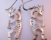 Native American Kokopelli Earrings Sterling Silver Drop Dangle Vintage Jewelry Jewellery