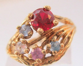 BIGGEST SALE of the Year Vintage 10k YG Mother's Multi Stone Ring Ruby & Topaz Size 5.5 Fine Jewelry Jewellery