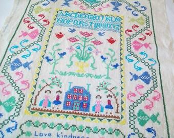 SALE-Hand Stitched Vintage Embroidered Sampler, linen, Paragon linen
