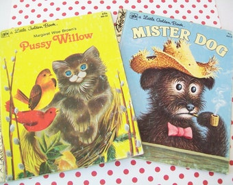 SALE - 2 Books, Pussy Willow, Mister Dog, Little Golden Books, Margaret Wise Brown