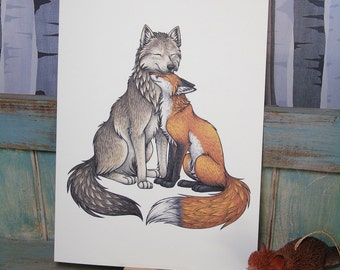 Wolf & Fox Illustration - A4 Print on 270gsm Card available in 3 Colours