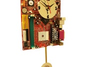 Red Motherboard Pendulum Wall Clock. Unique for a Geek.