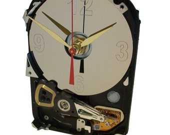 Hard Drive Clock has Unusual Shape with Acrylic Stand and Etched Disk Platter as the Dial. FREE SHIPPING USA!