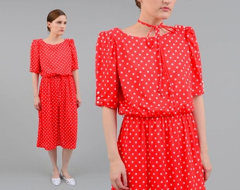 Vintage 80s Red White Polka Dot Dress Retro Puff Sleeve High Waist Knit Midi Dress Tie Belt Medium M