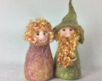 Curly Haired Gnome Couple For Fun Fall Decor