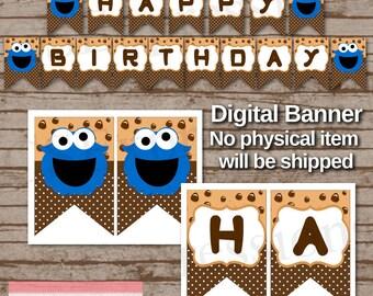 Digital Little Blue Monster Birthday Banner