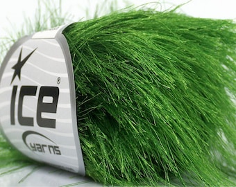 38Yd Grass Green Extra Long Eyelash Yarn #43040 Ice Luxurious Jungle Green Fun Fur  50gr - Perfect for Greenbay Packer's Fans