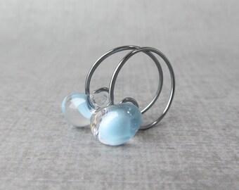 Baby Blue Hoop Earrings, Blue Glass Drop Earrings, Blue Earrings, Light Blue Earrings Lampwork, Small Wire Hoops, Sterling Silver Earrings