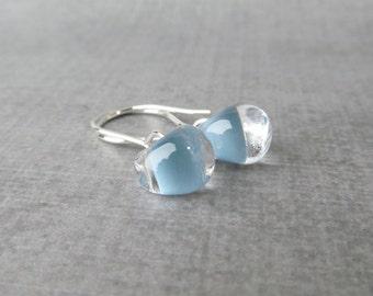 Baby Blue Small Dangle Earrings, Lampwork Glass Blue Earrings, Small Wire Earrings Silver, Baby Blue Earrings, Sterling Silver Wire Earrings