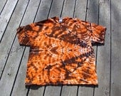 Mandala Tie Dye Tee - Adult (2XL) Orange & Black