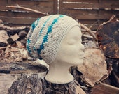 Slouchy Beanie with drop of turquoise  - hand crochet mulicolored chunky hippie boho style
