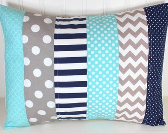 Pillow Cover, Nursery Pillow Cover, Patchwork Pillow, Boy Nursery Decor, Nautical, 12 x 16 Inches, Aqua Blue, Gray, Grey, Navy Blue