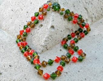 Vintage Necklace W Germany 50s Costume Jewelry Orange Green