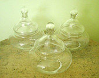 3 Vintage Glass Bubble Shaped Apothecary  Jars Wedding Candy Buffet Rustic Wedding