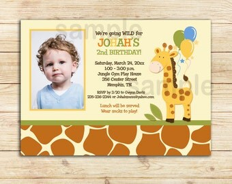 Giraffe Birthday Invitations   Boy Photo Birthday Invites   Jungle Giraffe Balloons Printable file