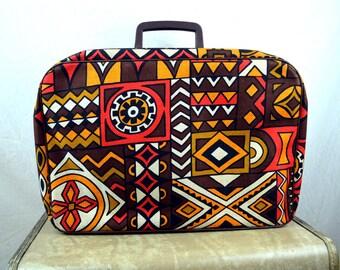 Vintage 1960s Tribal Tiki Mod Mini Suitcase