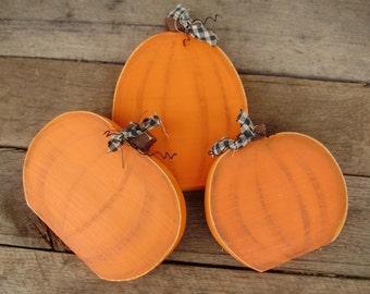 Set of 3 Orange Wooden Pumpkins