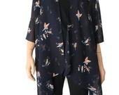 Kimono cardigan with birds- Navy blue chiffon Kimono with lovely birds-Gift idea-Layering piece-Many colors