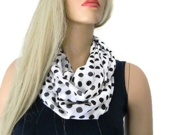 White and black polka dots Chiffon infinity scarf Necklace polka dot  Scarf Cowl, loop circle scarf-Instant gratification...