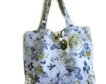 Floral canvas tote bag with yellow green- book bag,Lined carry all tote bag