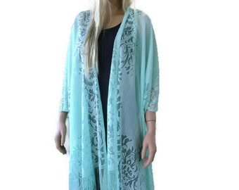 Mint Bohemian Lace Kimono -Mint green/ spring green-Fringe kimono cardigan-Oversize kimono