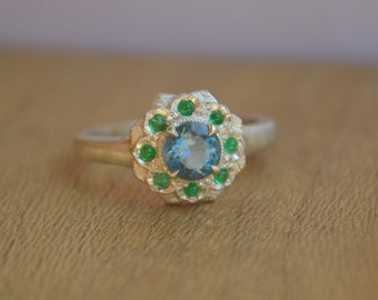 Camellia Ring in Argentium Silver with Aquamarine and Colombian Emeralds