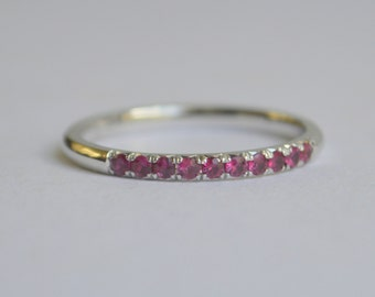 14K White Gold Fishtail Pave 1/3 Eternity Ruby Ring