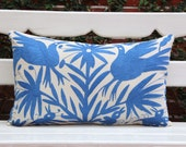 Periwinkle blue Folk Art Pillow Sham-Otomi Embroidery Ready to ship.