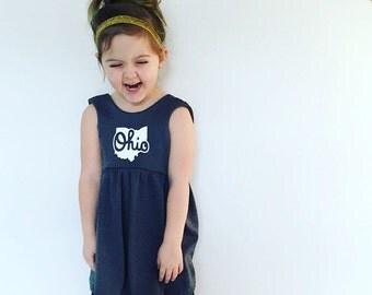OHIO Tunic/ Dress, Dark Gray and White dress, Ohio made