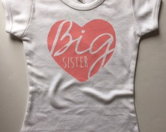 Big Sister Heart Tshirt - Available in various colors and Sizes