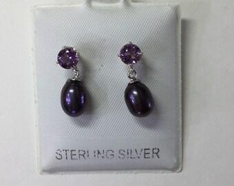 Amethyst and freshwater pearl drop earrings