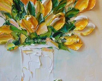 Tulip Painting, Romantic gift, Oil paintings , Yellow tulips, Original oil painting , fine art,