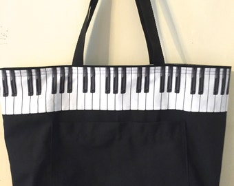 Tote Bag with Piano Keys  in Black and White