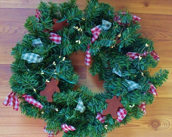 Wired Wreath Pip Berries Bows Red/Green Artificial Greenery  15""
